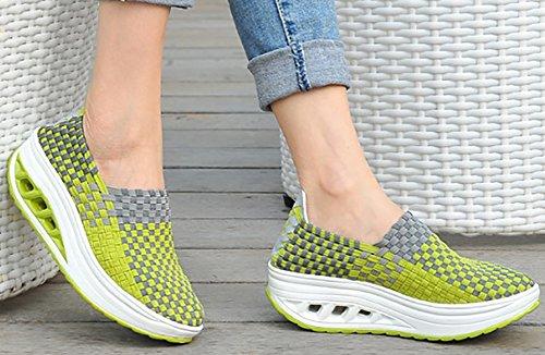 Odema Femmes Plate-forme De Tricot Chaussures Glisser Sur Des Mocassins Fitness Travailler Sur Des Espadrilles De Marche Vert