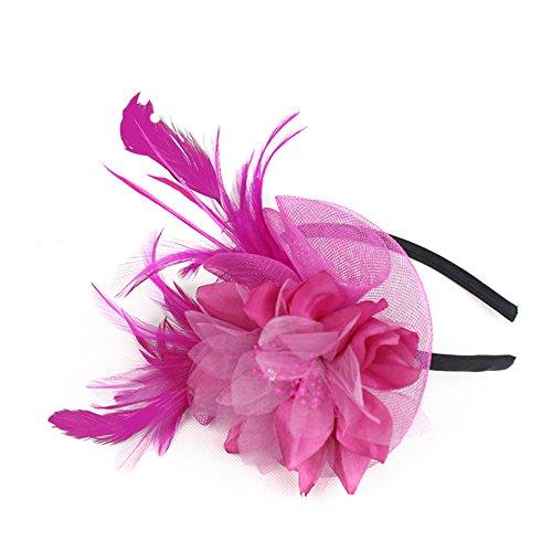 Auranso Derby Netting Mesh Headband Feather Big Flowers Hair Band Tea Party Girls Women Wedding Bridal Fascinator Hat Rose Red