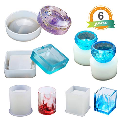 Resin Silicone Mold LET'S RESIN Resin Art Molds Include Round, Square, Cylinder, Small Bowls, Silicone Molds for Concrete, DIY Coaster/Flower Pot/Ashtray/Pen Candle Soap Holder