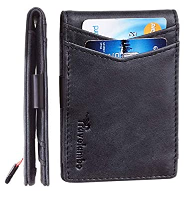 Travelambo Mens RFID Blocking Front Pocket Minimalist Slim Genuine Leather Wallet Pull Tab Money Clip