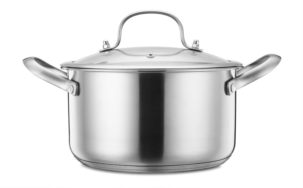 Stainless Steel Stockpot, P&P Chef 3 Quart Stock Pot with Lid, Tri-ply Induction Base & Steel Handles, Easy Clean & Dishwasher Safe