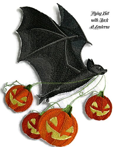 BeyondVision Custom And Unique Happy Halloween [ Flying Bat with Jack O Lanterns ] Embroidered Iron on/Sew patch [5.88