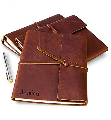 GiftTree Personalized Fine Genuine Leather Journal or Diary for Men or Women | 192 Lined Pages with Soft Cover | Great gift for a Travel Diary or Notebook ()