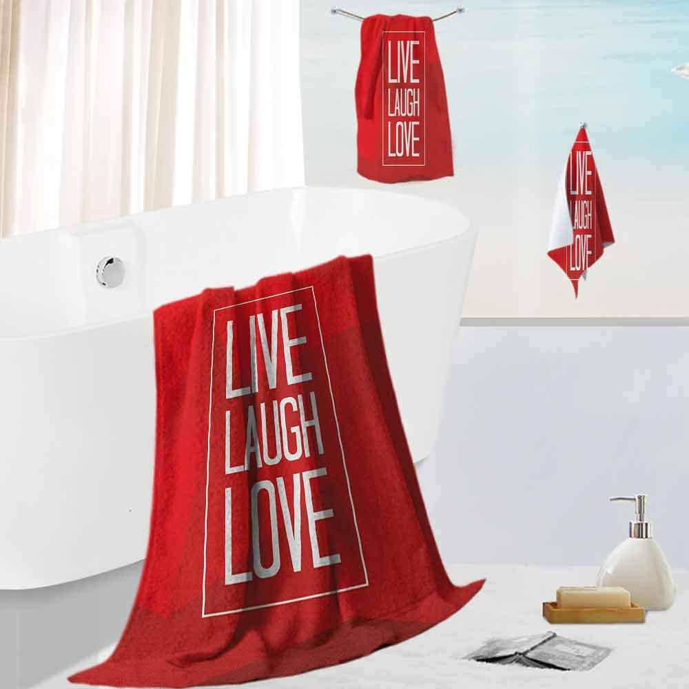 Live Laugh Love,Extra Light Weight Towel Set Abstract Triangular Polygonal Background with a Quote in Rectangular Frame Highly Absorbent Machine Washable Red White