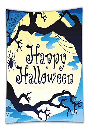 Nalahome Fleece Throw Blanket Halloween Decorations Collection Happy Halloween Quote Spooky Night Moon and Branches Shadows Haunted Lights Yellow Black