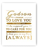 Godson Gift - Unique Baptism Gift, Christening Gift or New Baby Gift for Godchild - Gold Foil Typography Artwork Gold Foil Print by Ocean Drop Designs 11x14''