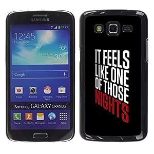 Noches texto fresco impresiones Partido Negro - Metal de aluminio y de plástico duro Caja del teléfono - Negro - Samsung Galaxy Grand 2
