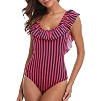 Tempt Me Women One Piece Fashionable Striped Ruched Ruffle Falbala Scoop Neck Backless Swimsuit