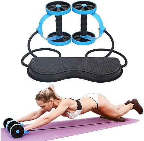 SZCQ Men Ab Roller Wheel with Resistance Band Women Flex Abdominal Trainers Double Rollers Home Gym Multi-Functional Exercise Knee mat Body Fitness Equipment Core Ab Workout 1