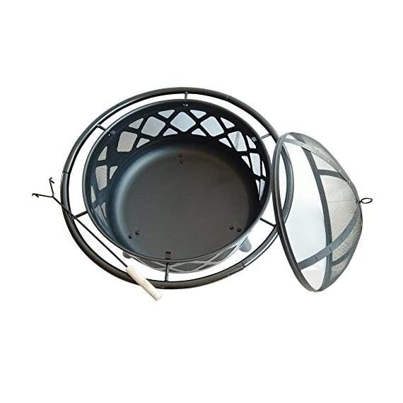 """Peaktop CU296 Round Steel Charcoal Wood Burning Fire Pit Bonfire with Spark Screen and Fireplace Poker for Outdoor Patio Garden Backyard Decking, 30.0"""", Black - Featured with CSA certified burner. Built for charcoal and wood burning. The decorative fire pit integrate into your patio décor while the design structure ensures long term durability. Carefully made to provide you and all of your guests with warmth for those Unforgettable summer nights. Includes a poker and spark screen. A grilling grate is not included. - patio, outdoor-decor, fire-pits-outdoor-fireplaces - 51k 8Oi8mlL. SS570  -"""