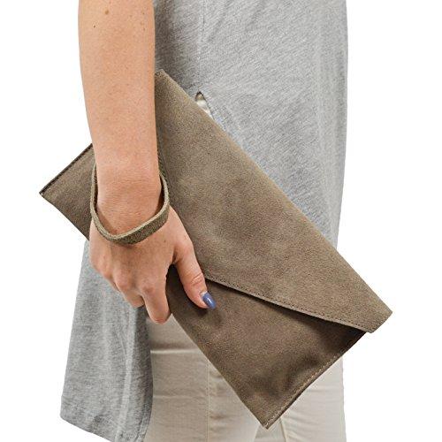 Wildleder Clutch / Envelope Clutch  NY  von PARISLONDONNEWYORK, Farbe: In verschiedenen Farben erhältlich - Geeignet für Herren / Damen / Unisex Mocca