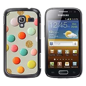 TopCaseStore / la caja del caucho duro de la cubierta de protección de la piel - Glitter Gold Paint Paper Craft Art Polka Dot - Samsung Galaxy Ace 2 I8160 Ace II X S7560M