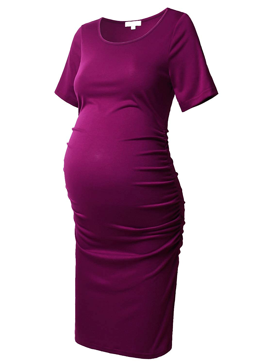 Purple   Red Maternity Bodycon Dress Short Sleeve Ruched Sides Knee Length Shirred Dress