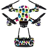 MightySkins Skin For DJI Spark Drone & Controller - Game Kid Color Tile | Protective, Durable, and Unique Vinyl Decal wrap cover | Easy To Apply, Remove, and Change Styles | Made in the USA