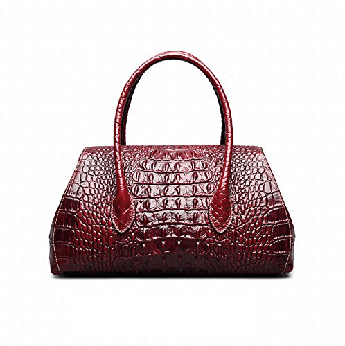 Shoulder Crocodile Bag Brown Leather Womens Embossed Handbag Genuine Jsix 7wUgnYt
