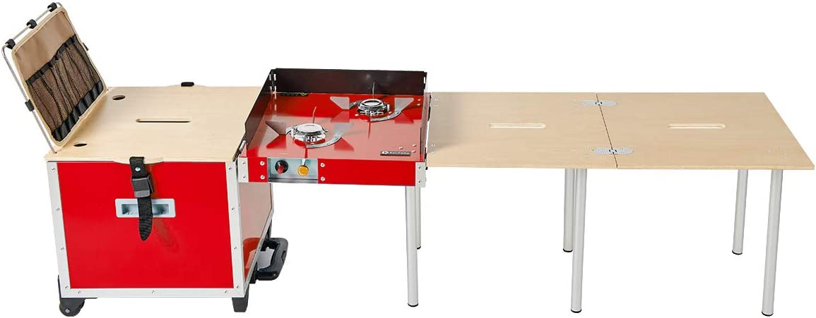Eat-Camp Camping Stove Portable Propane Gas Stove Folding Cooking Station with Propane Adapter Gas Stove Table Storage Suitcase 3 in 1 Outdoor Camping Kitchen for Family Party