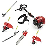 Trueshopping 62cc Petrol Multi Tool Long Reach Multi Function 5 In 1 Garden Power Tool Including: Hedge Trimmer, Grass Trimmer, Brushcutter, Chainsaw Pruner & Free Extension Pole 2-Stroke 2.KW / 3.5HP