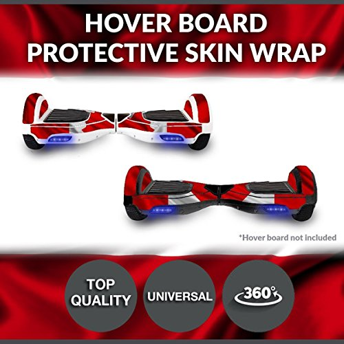 Self Balancing Electric Two Wheel Scooters - Hoverboard Protective Skin Skate Wrap - Balance Scooter Motorized Longboard Stickers Vinyl Decals Real 2 Wheel Protective Cover (Canada Flag) (Electric Scooters Cheapest)