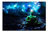 SmartWallArt - Zen Still Life Paintings Wall Art the Buddha Sit in Meditation with Brilliant Starry Sky Picture Print on Canvas for Modern Home Decoration