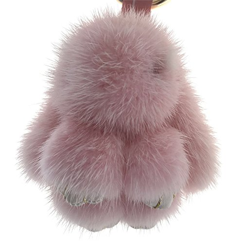 Price comparison product image Mini 8cm Real Mink Fur Bunny Rabbit Bag Purse Charm Phone Car Keychain Kids Doll Toy Birthday Gift