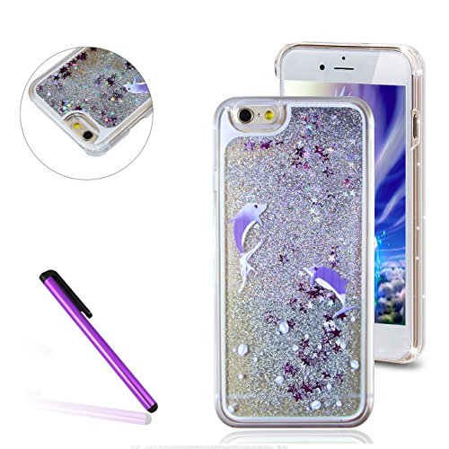 iPhone 4 Case,iPhone 4S Case,EMAXELER Fluorescent Heart Series 3D Glitter Liquid Floating Change Color Sequins Bling Moving Hard Protective Case for iPhone 4/4S + Send 1Pcs Stylus Pen Two Dolphins