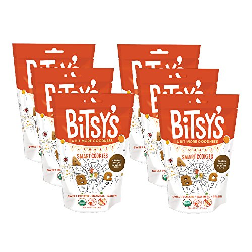 Bitsy's Organic Smart Cookies Sweet Potato Oatmeal Raisin 5 Ounce Gusset Bag (Pack of 6) Healthy Organic Nut-Free Snacks with Fruits and Vegetables for Kids