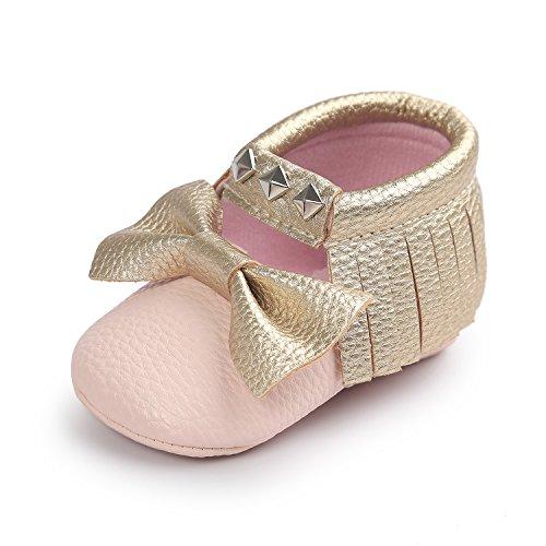 JL bebé niñas suela suave borla Bowknots sintética zapatos de piel Mocasín @4 Talla:Suitable Age12~18 month rosa