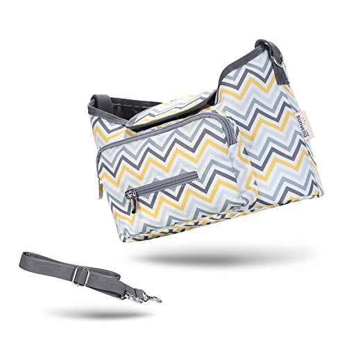 SUNVENO Baby Strollers Bag Organizer Waterproof Diaper Nappy Bag Stroller Accessories (yellow wave) by Sunveno