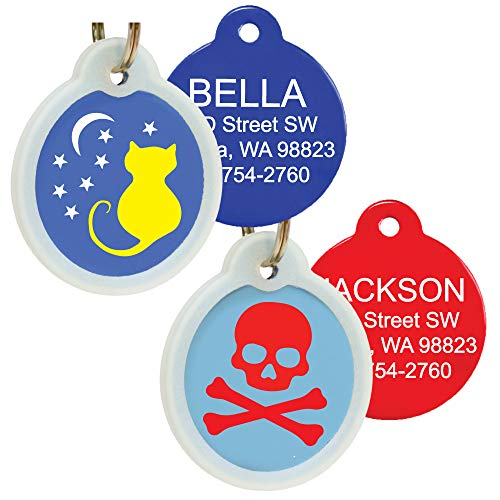 GoTags Unique Pet Tags, Personalized with 4 Lines of Custom Engraved ID, Silent Dog Tags with Glow in The Dark Silencer to Quiet Tag, Several Cute Tag Designs for Cat or Dog, (Skull and Crossbones)