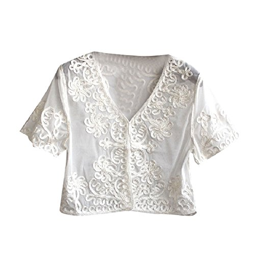YUNY Women's Embroidered Shrug Open-Front Gauze Lace Short Cardigan White OS ()
