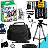 Complete ACCESSORIES KIT for Fujifilm Instax 300 WIDE includes: 20 Instax WIDE Film + 4AA Batteries (3100mAH) + AC/DC Quick Charger + Custom Fitted Case + Full Size 60' inch Tripod + MORE
