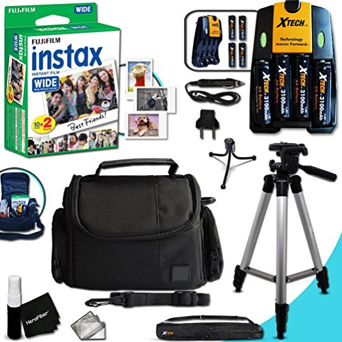 Complete ACCESSORIES KIT for Fujifilm Instax 300 WIDE includes: 20 Instax WIDE Film + 4AA Batteries (3100mAH) + AC/DC Quick Charger + Custom Fitted Case + Full Size 60' inch Tripod + MORE by Xtech