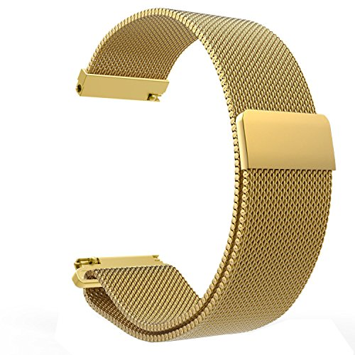 LoveBlue for Pebble time 22mm Magnetic Milanese Loop Stainless Steel Band Replacement Accessories for Pebble Time/Pebble Time Steel, Samsung Gear S3 Frontier/Classic(Milanese-Gold)