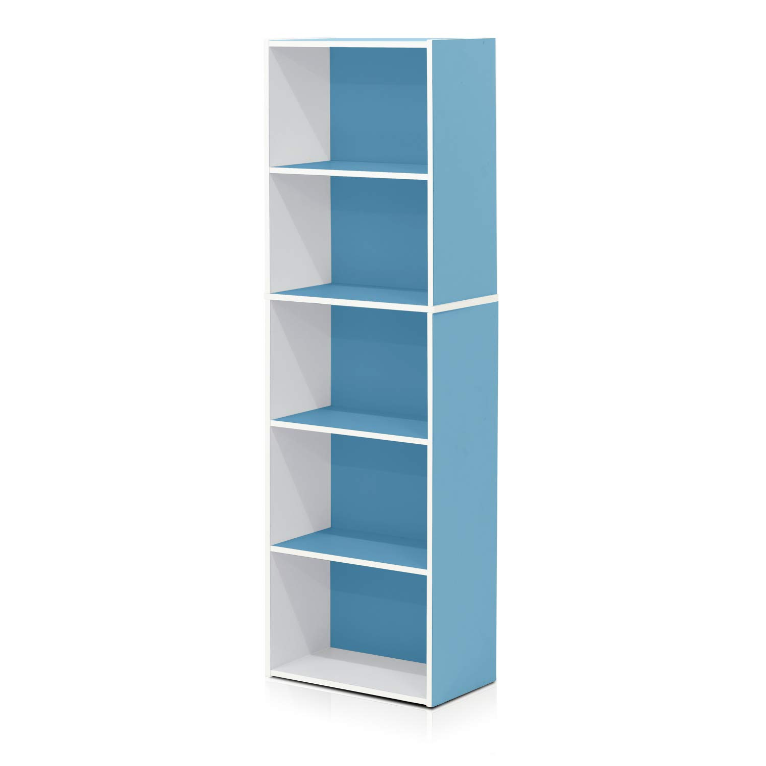 Furinno 5-Tier Reversible Color Open Shelf Bookcase , White/Light Blue 11055WH/LBL