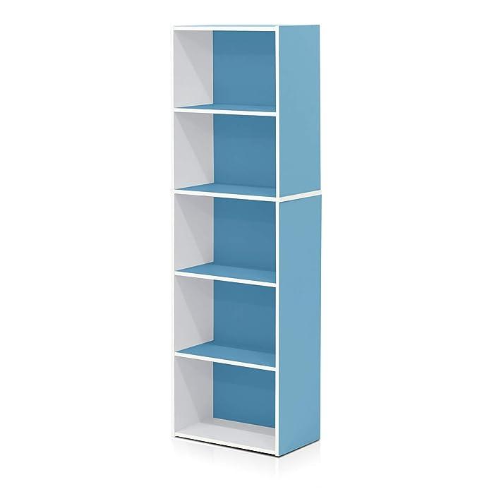 Furinno 5-Tier Reversible Color Open Shelf Bookcase , White/Light Blue 11055WH/LBL