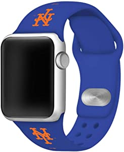 New York Mets Silicone Sport Watch Band Compatible with Apple Watch (42mm/44mm - Navy)