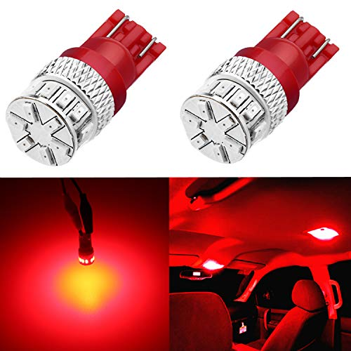 Alla Lighting Super Bright T10 194 Red LED Bulbs High Power 3014 18-SMD 12V LED 194 168 2825 175 W5W Bulb T10 Wedge for License Plate Interior Map Dome Trunk - Led Bulb Replacement Bright Red