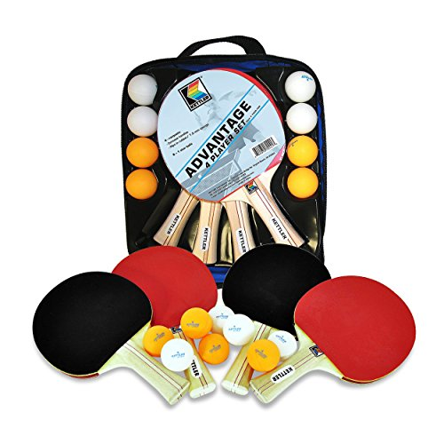 Kettler Advantage Indoor Table Tennis Bundle: 4 Player Set (4 Rackets/Paddles and 8 Balls)