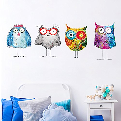 DecalMile Colorful Owl Wall Stickers Kids Wall Decals Peel and Stick Removable Vinyl Wall Art for Kids Bedroom Nursery Baby Room Living Room