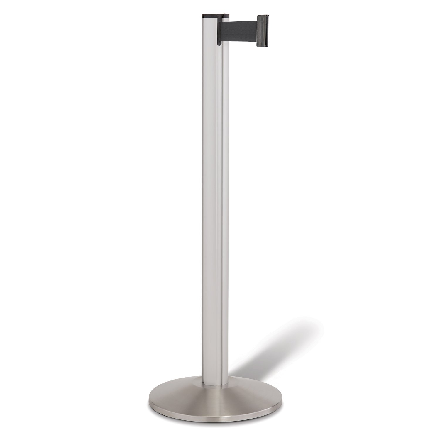 Beltrac 3000 Retractable Belt Stanchion, Satin Aluminum with 7 foot Black Belt by Lavi Industries