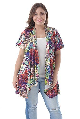 (ZERDOCEAN Women's Plus Size Short Sleeve Asymetric Hem Open Front Lightweight Soft Printed Drape Cardigan 024 1X)