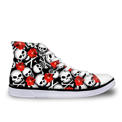 HUGS IDEA Classic Black and White High Top Canvas Shoes Comfort Floral Skull Trainers Sneakers US8 (White Skull Skateboard Shoe)