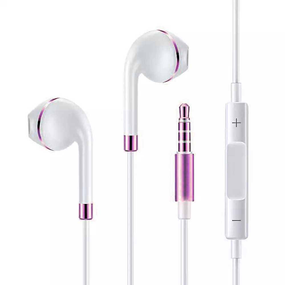 Mayshion New Style Earbuds Earphones Stereo Headphones with Mic Earphones Stereo Bass 3.5mm Jack Headset for iPhone/Sony/Sumsung etc(White Blue)