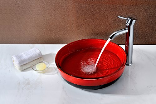 Tempered Glass Vessel Sink - Lustrous Red and Black Finish - Schnell Series LS-AZ060 - ANZZI by ANZZI (Image #1)