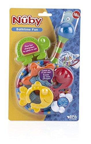 Nuby Splash n' Catch Bath Time Fishing Set, Includes Four Link Toys