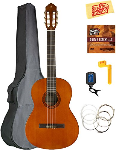 Yamaha CGS103A 3/4-Size Classical Guitar Bundle with Gig Bag, Tuner, Strings, String Winder, Austin Bazaar Instructional DVD, and Polishing Cloth ()