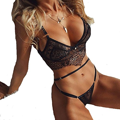 FineLook Womens Lace Sheer Sexy Lingerie Babydoll Underwear Bra and G-String Set (S, Black) (G-string Sheer)