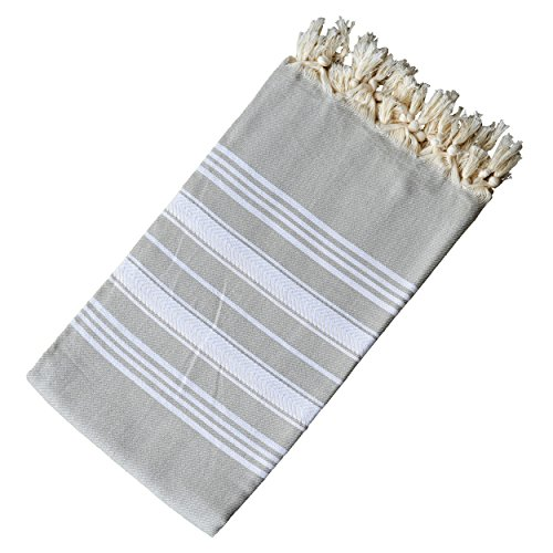- Dandelion - Basic Pattern - Naturally-Dyed Cotton Turkish Towel Peshtemal - 71x39 Inches - Silver Gray