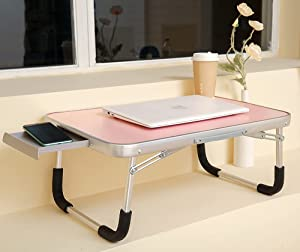 DOINUO Lap Desk for Adults & Kids, Portable Desks for Apple MacBook Air MacBook Pro All Notebook Tablet for Bed Couch Floor, Foldable Laptop Desk Tray Table with Drawer, B-Cute Pink
