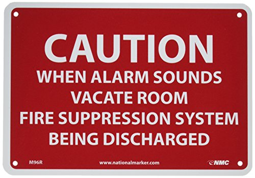 "NMC M96R Safety Sign, Legend ""CAUTION WHEN ALARM SOUNDS VACATE ROOM FIRE SUPPRESSION SYSTEM BEING DISCHARGED"", 10"" Length x 7"" Height, Rigid Polystyrene Plastic, Red on White"